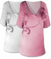 """SOLD OUT!!!!SALE! Lovely Plus-Sized White or Pink """"Timeless Love"""" Print V-Neck Top"""