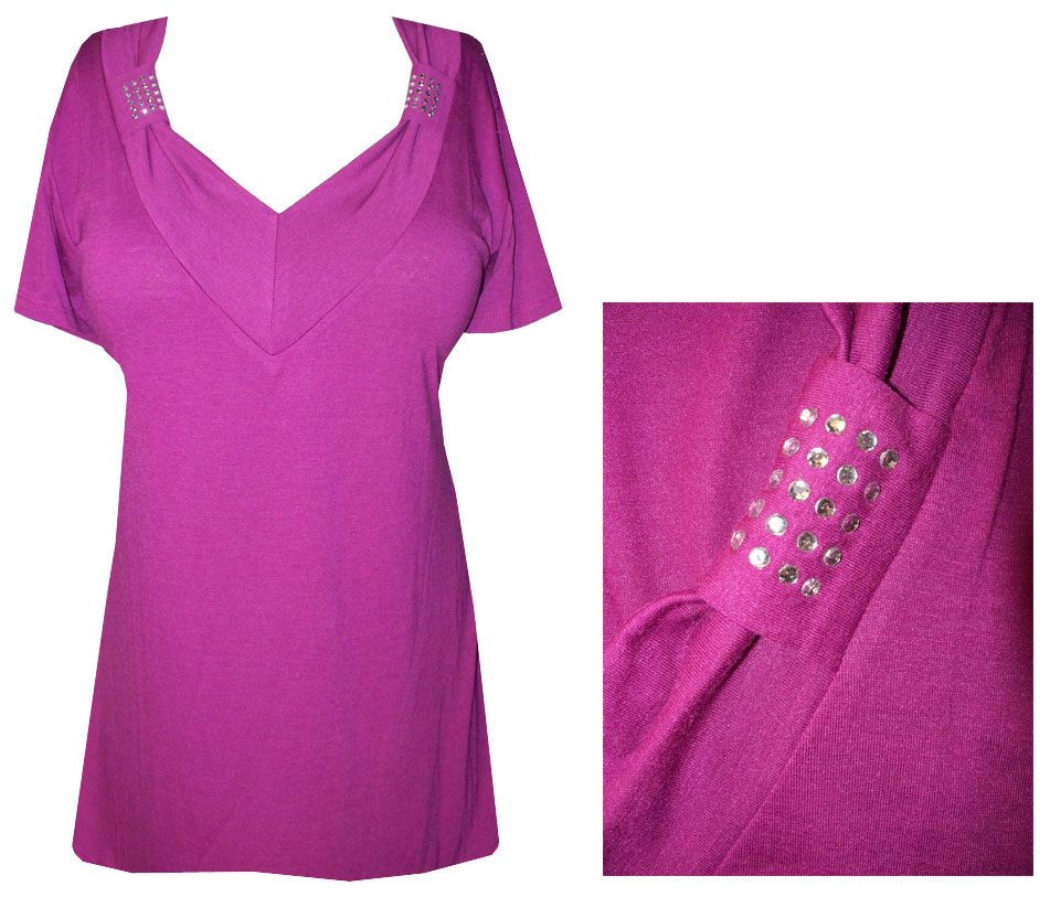 13f65a7d665a3 SOLD OUT!!!SALE! Magenta Soft V-Neckline with Crystal Details Plus Size Top