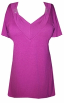 SOLD OUT!!!SALE! Magenta Soft V-Neckline with Crystal Details Plus Size Top