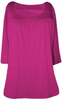 SOLD OUT!!!!SALE! Magenta Yummy Soft Square Neck  3/4 Sleeves Plus Size Babydoll Top  5x