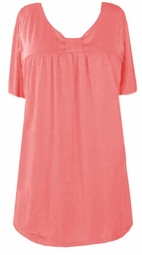 SOLD OUT! SALE! Peach Cotton Lycra Short Sleeve Babydoll Top 4x