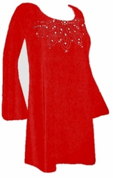 sold out! SALE! Pretty Red Slinky 3/4 Bell Sleeve Top with Rhinestone Neckline 3x