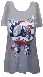 SOLD OUT!!!!!!!!!!SALE!!! Pretty Red White & Blue with Silver - Peace Sign Design Plus Size T-Shirts  2x
