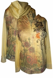 SOLD OUT!!!!!!!!!!!!!!!Sale! Pretty Vintage Floral with Rhinestone Details Plus Size Zip Up Hoodie 30/32w-5x
