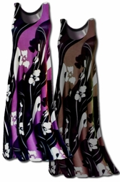 SOLD OUT!!!!!!!!!!!!  SALE!!!!!!!!!! Purple & Black or Brown & Black Print Slinky Swirly Plus Size & Supersize A-line Tank Dresses 1x