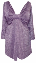 SOLD OUT!!!!!!!!!SALE! Purple with Silver Glimmer Sexy Low-Cut Flutter Sleeve Top 1x