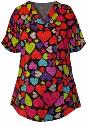 SOLD OUT!!!!!!!!!!!!SALE!  Rainbow Hearts Plus Size Scrub Top 2xl