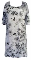 SOLD OUT!!!!!!!!!!!!!!SALE! s6063 Gray & Black Birds & Flowers Plus Size Supersize T-Shirts 4x