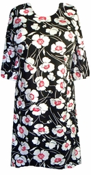 SOLD OUT! Sale!!!! s6066 Black T-Shirt with White & Pink Flowers Plus Size & Supersize