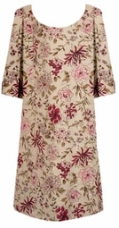 SOLD OUT! SALE! s609 Beige & Burgundy Floral Ribbed Plus Size T-Shirt 4x