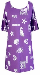 SOLD OUT! SALE! s613 Purple & White Fish Painted Plus Size T-Shirts 4x