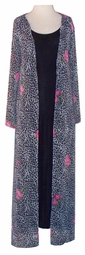 SOLD OUT!!!!!!!!!!!SALE! Sheer Black White & Pink Leopard Roses Duster Jackets Plus Size & Supersize 8x/9x