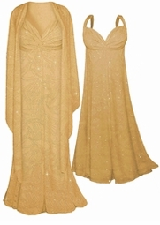 SOLD OUT! Sale!!!Sparkly Tan & Gold Slinky Glitter Sexy 2pc Plus Size Princess Cut Dress 5x