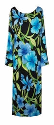 SOLD OUT! Sale! Stunning Black Blue Turquoise & Green Tropical Print Slinky 3/4 Bell Sleeve Plus Size Dress 2x