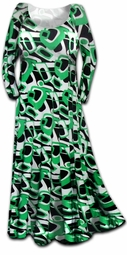 SOLD OUT! CLEARANCE! Stunning Green Geometric Print Slinky Plus Size & Supersize Dress 3x