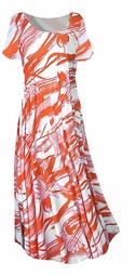SOLD OUT! SALE! Stunning Orange and White Graphic Print Slinky Plus Size Supersize Dress 4x/5x