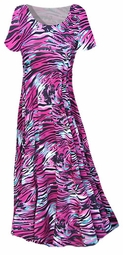 SOLD OUT! SALE! Stunning Pink Black Turquoise Tiger Stripe Print Slinky Plus Size & Supersize Dresses 2x/3x
