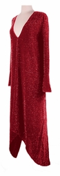 SOLD OUT! SALE! Stunning Plus-Size Sheer Red Glimmer Low V-Neck Cascading Dress 3x