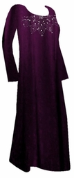 SOLD OUT! SALE! Stunning Smooth Purple Velvet Long Sleeve Plus-Size Dress with Rhinestone Neckline 7x