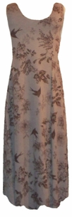SOLD OUT!!!!!!!!!!!!!!SALE! Tan & Brown Birds & Flowers Plus Size & Supersize Princess Cut Tank Dresses 0x