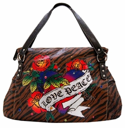 SOLD OUT!!!!!SALE! Tiger Print Tattoo Heart Love Peace w/ Rhinestones Faux Leather Purse