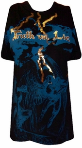 SOLD OUT!!!!!!!!!!!!!!!SALE!  Truth or Lie Graphic T-Shirt With Gold Metallic Detail M L XL