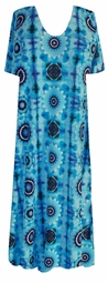 SOLD OUT! SALE! Turquoise & Blue Mod Floral Slinky Plus Size & Supersize Customizable Dresses Shirts & Jackets Lg to 9x