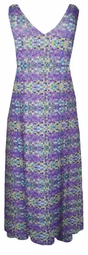 SOLD OUT! Sale! Very Pretty Purple Lime & Teal Squares Low V-Neck Plus Size Slinky Tank Dress 0x