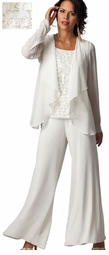 SOLD OUT!!!!!!!!!!! SALE! White & Gold 3pc Top Jacket & Pant Plus Size Pantset 34w 4x 5x