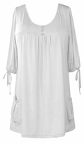 SOLD OUT!!!!SALE! White Slinky Pocket Babydoll Tops