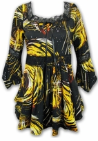 SOLD OUT!!!!!!!!!!!SALE! Yellow & Black Abstract Print Lace Trim Bell Sleeve Slinky Plus Size Shirts