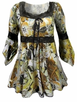 SOLD OUT!!!!!!!!!!SALE! Yellow & Black Lace Trim Bell Sleeve Slinky Plus Size Shirts 4x