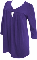 SOLD OUT!!!!!!SALE! Yummy Cute Purple Cotton Lycra 3/4 Sleeve Plus Size Knot Babydoll Tops 4x