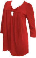 SOLD OUT!!!!!!!!!!SALE! Yummy Cute Red / Purple Cotton Lycra 3/4 Sleeve Plus Size Knot Babydoll Tops 4x