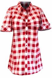 SOLD OUT! SEE OTHER LISTING!! Cute 1950's Style Red Checkered Buttondown Shirt 3x