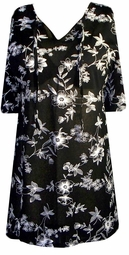 SOLD OUT!!!!!!!!!!!!!Semi-Sheer Black & White Floral Swimsuit Cover-Ups or Over-Blouse Plus Size & Supersize 3x