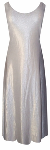 SOLD OUT!!!!SGorgeous Silver Metallic Waterfall on White Plus Size & Supersize Princess Cut Tank Dresses  6x 7x