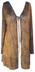 SOLD OUT! Sheer Leopard Swimsuit Tie Cover-Up Robe Plus Size & Supersize 1x 2x 3x 4x 5x 6x 7x 8x