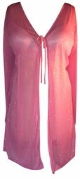 SOLD OUT! Sheer Pink Fabulous Glimmer Swimsuit Tie Cover-Up Plus-Size Robe 1x