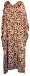 SOLD OUT!!!!!Silky Brown with Pink and Cream Paisely Print Plus Size & Supersize Caftan Dress 1x to 6x