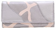 SOLD OUT! Silver Giraffee Print Faux Leather Wallet with Checkbook Cover