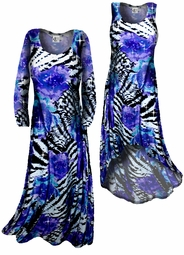 SOLD OUT! FINAL SALE! Sparkly Sequin Lightweight Black Purple Blue Animal Print Slinky Plus Size Shirt 2X