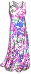SOLD OUT!!!!!!!!!!!!! Springtime Pink & Blue Floral Slinky Plus Size & Supersize A-line or Princess-Cut Dresses 2x 5x