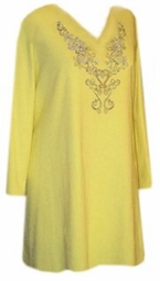 SOLD OUT! st8010 CLEARANCE! Yellow Rhinestone Plus Size Supersize Shirts 5x