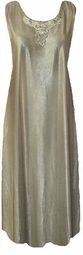 SOLD OUT! Stunning Beige Metallic Plus Size Tank Dress With Beaded Collar 3x
