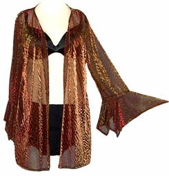 SOLD OUT!!!!!!!!!!!!!Stunning Golden Leopard Print Sheer Jacket - Plus Size & Supersize