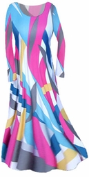 SOLD OUT!! Stunning Pink and Blue Graphic Print Slinky Plus Size & Supersize Customizable Dresses, Shirts, Pants, Skirts  or Jackets Lg to 9x
