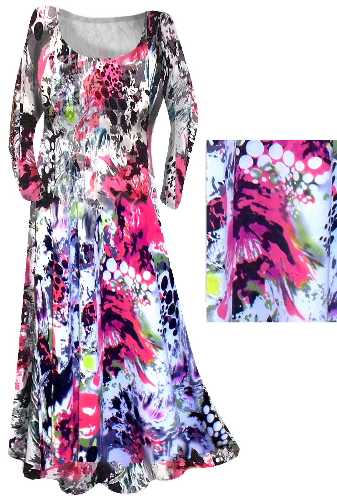 f16da9911c6 SOLD OUT!!!!Stunning Pink   Black Graphic Print Slinky Plus Size    Supersize Customizable Dresses