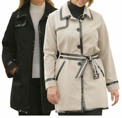 SOLD OUT !!! Stylish Black or Tan Water-Resistant Plus-Size Pantcoat with faux Pate 24w 34w