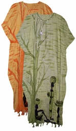 SOLD OUT!!!!Sunset Orange or Olive Green Tree Sequined Neckline Rayon Plus Size & Supersize Caftan Dress 1x to 6x